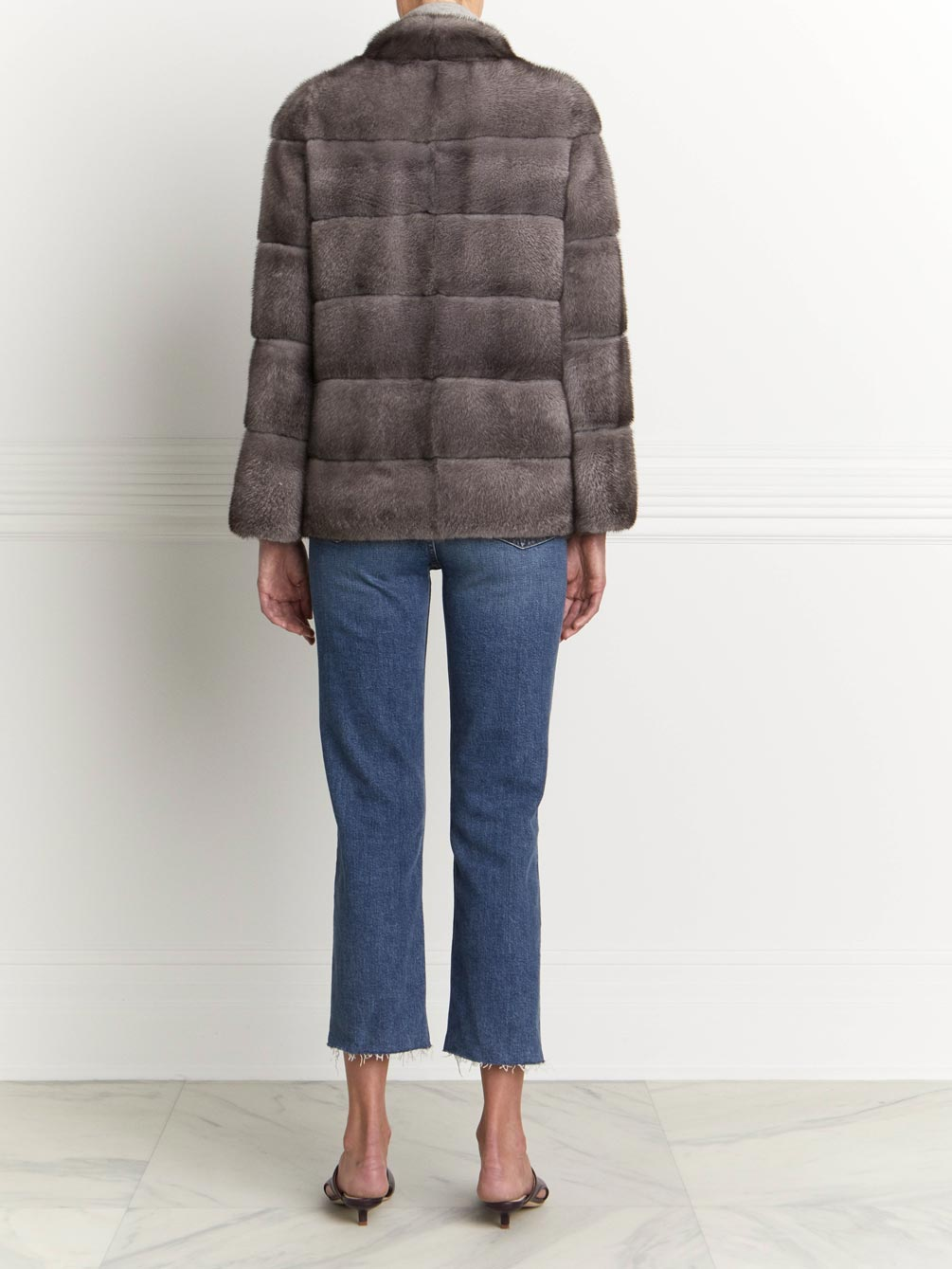 Mink Fur Jacket with Grosgrain Inserts