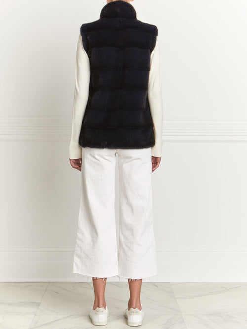 Mink Vest in Navy - Pologeorgis