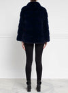 The Polly Mink Fur & Suede Jacket in Navy