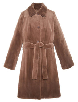 Mink Belted Raincoat in Coco