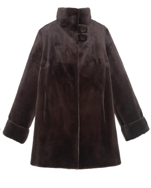 Reversible Mink Raincoat in Dark Brown
