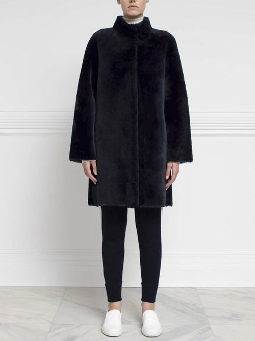Shearling Coat in Navy - Pologeorgis