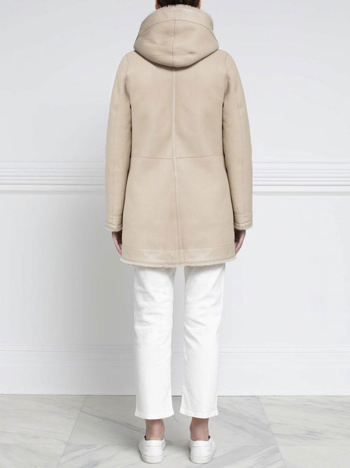 Shearling Hooded Coat in Beige