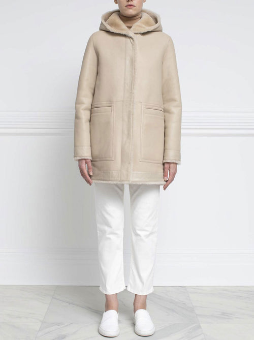 Shearling Hooded Coat in Beige - Pologeorgis