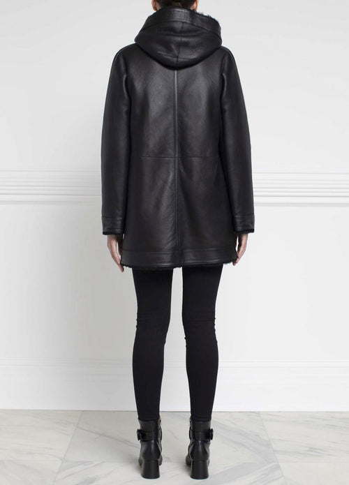 Shearling Hooded Coat in Black