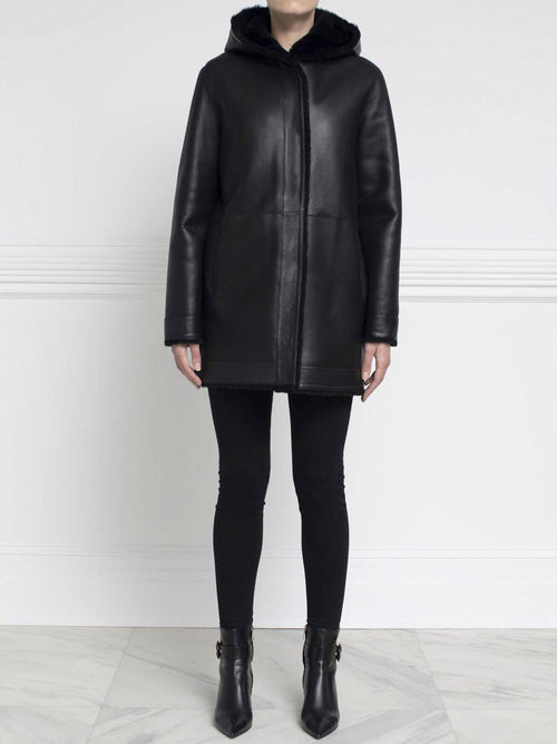 Shearling Hooded Coat in Black - Pologeorgis