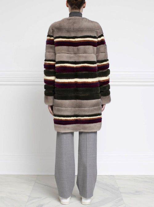 Striped Mink Fur Coat