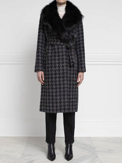 Houndstooth Coat with Fox Fur Collar