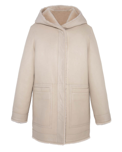 Reversible Shearling Hooded Coat in Beige Color