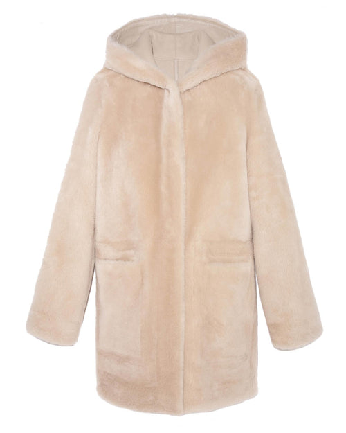 Reversible Shearling Hooded Coat - Pologeorgis