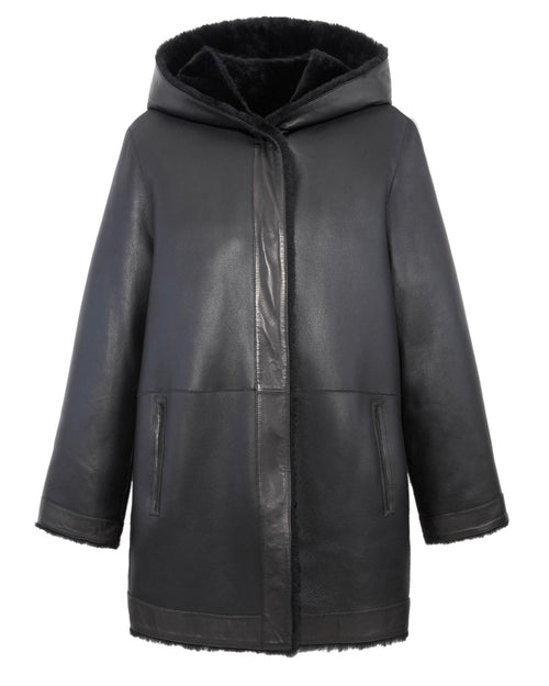 The Davie Reversible Shearling Hooded Coat in Black Color