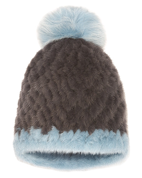 The Knit Mink Fur Hat with Fox Pom Pom With Single Stripe
