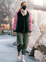 Mink Bomber Jacket in Green - Olivia Palermo