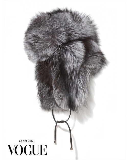 The Lara Oversized Silver Fox Trapper Hat