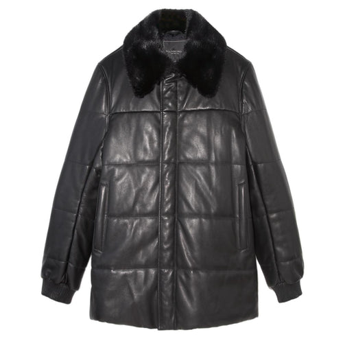 mens fur coat in Black Color