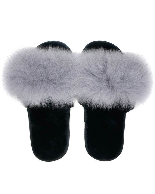 The Soho Fox and Shearling Slipper in Light Grey