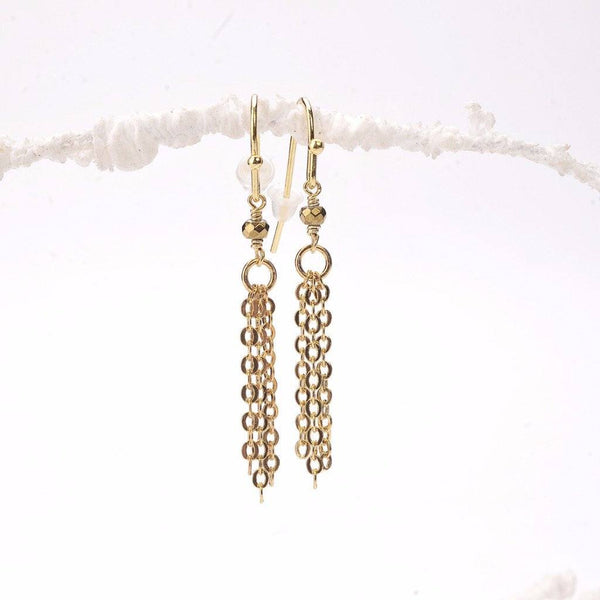 Gold Hematite Rondelle Tassel Earrings WHOLESALE