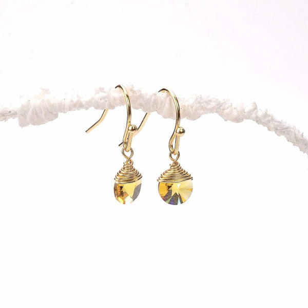 yellow sparkle earrings, swarovski citrine, sunny yellow, yellowstone, light topaz, crystal glass, royal gold, handmade swarovski, simple gold earrings, fancy earrings, earring making, new design earrings