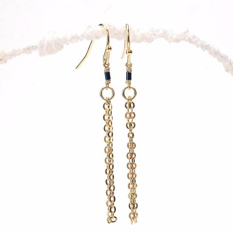Thin Blue Hematite Tube Tassel Earrings WHOLESALE