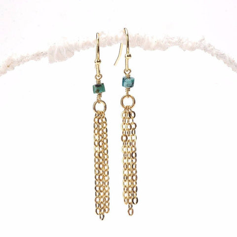Turquoise Heishi Tassel Earrings WHOLESALE