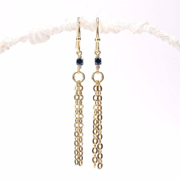 Faceted Blue Hematite Cube Tassel Earrings WHOLESALE