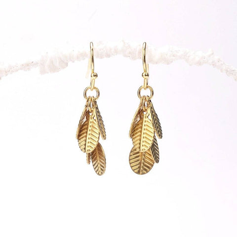 cascade earrings, delicate, metal gold leaf, dangle earrings, fancy gold earrings, earrings design, diy jewelry, raw brass, gold plated, craft online, girl craft, american jewelry, craft gift ideas