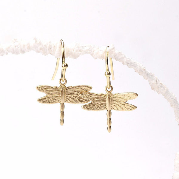 self realization earrings, self realization, dragonfly earrings, insect jewels, dragonfly designs, dragonfly symbolism, gold vermeil, drop earrings, gold dragonfly, fancy gold earrings, earrings for girl, diy jewelry, craft earrings, craft gift ideas, handcrafted gifts