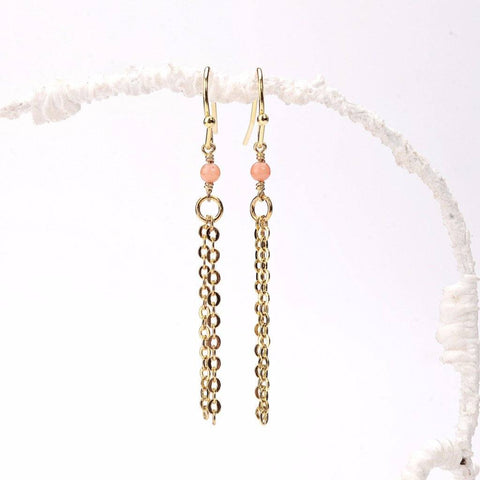 Pink Coral Tassel Earrings WHOLESALE