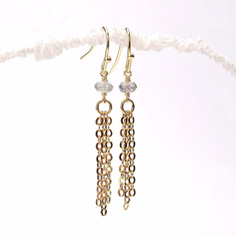 Labradorite Tassel Earrings WHOLESALE
