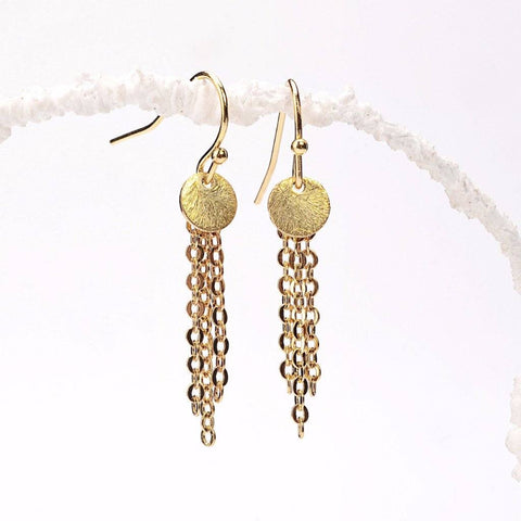 Gold Disc Tassel Earrings WHOLESALE