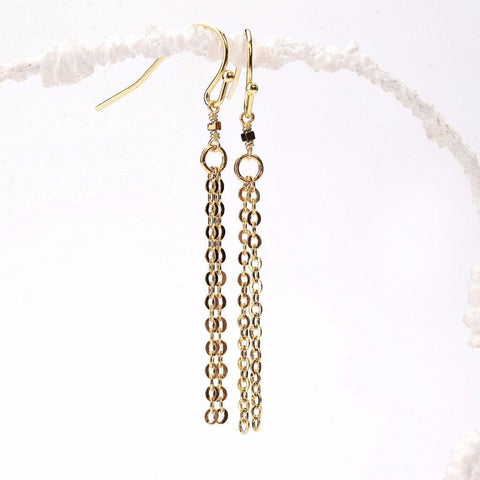 Tiny Gold Hematite Cube Tassel Earrings WHOLESALE