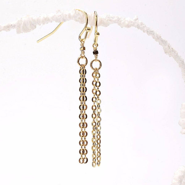 Tiny Gold Hematite Cube Tassel Earrings