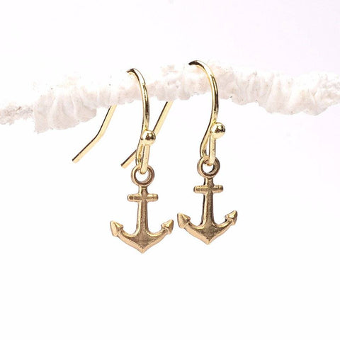 stability earrings, anchor designs, anchor earrings, gold anchor, pendant designs, fancy gold earring, simple gold earrings, raw brass, gold plated brass, gold pendant designs, latest earrings