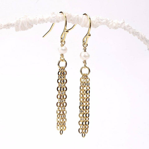 White Pearl Tassel Earrings WHOLESALE