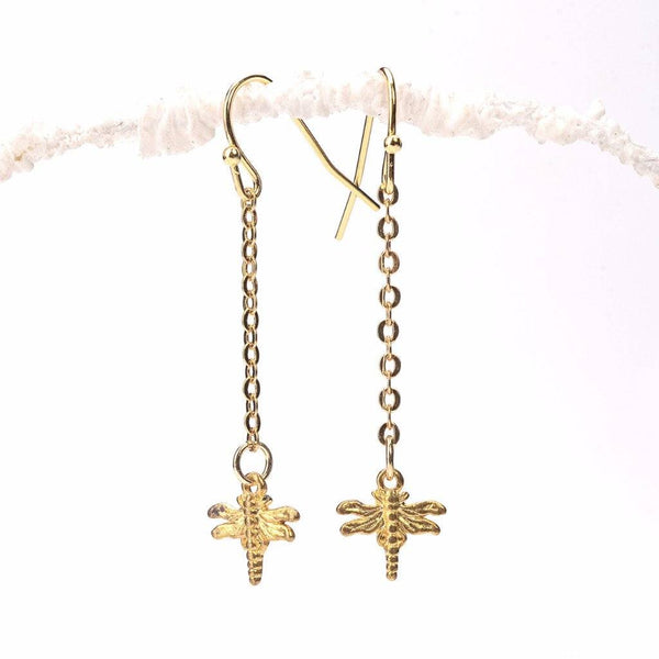 self realization earrings, dragonfly earrings, dragonfly designs, drop earrings, pendant designs, craft earrings, earrings ideas, gold earrings designs for daily use, new design earrings, gold plated brass, simple gold earrings, small gold earrings, latest earrings, pendant
