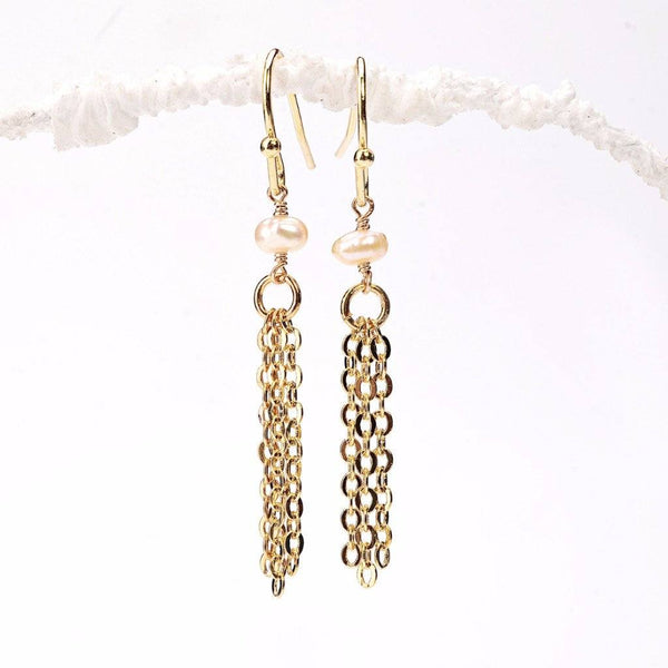 Pink Pearl Tassel Earrings WHOLESALE