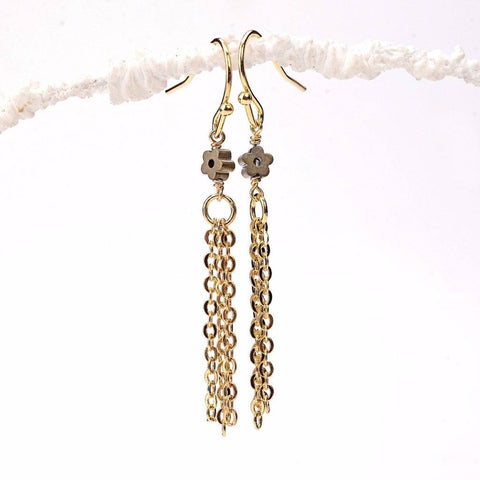 Gold Daisy Tassel Earrings WHOLESALE