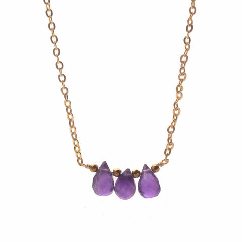 Triple Amethyst Necklace