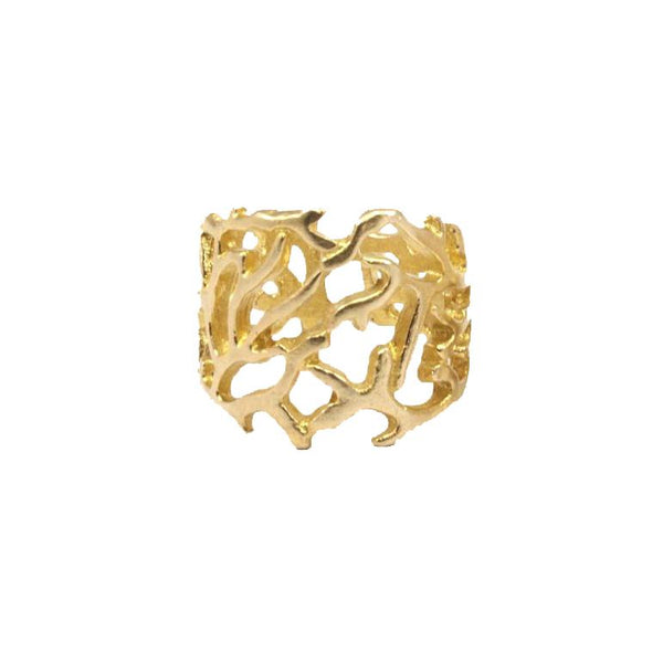 Raw brass Coral Ring