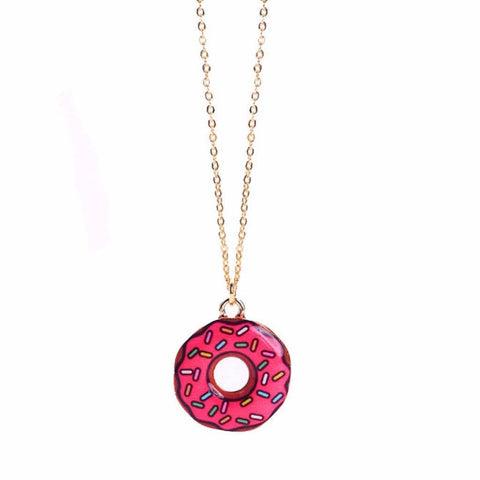 pendant, pink donut, golden donuts, gold pendant designs, gold pendant for girl, gold plated brass, simple gold necklace, jewelers near me, chain jewelry, craft shop