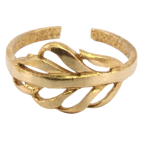 Raw Brass Feather Ring