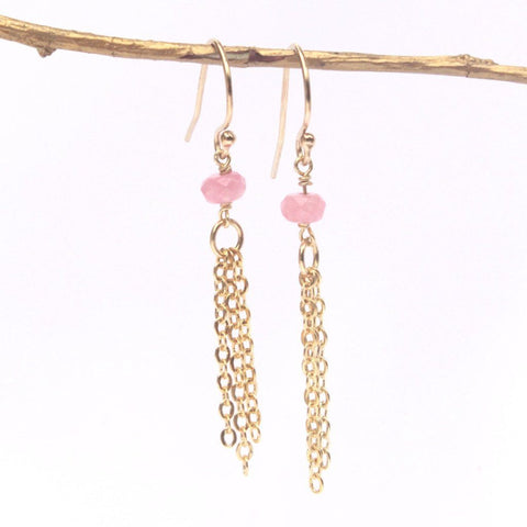 Pink Jade Tassel Earrings