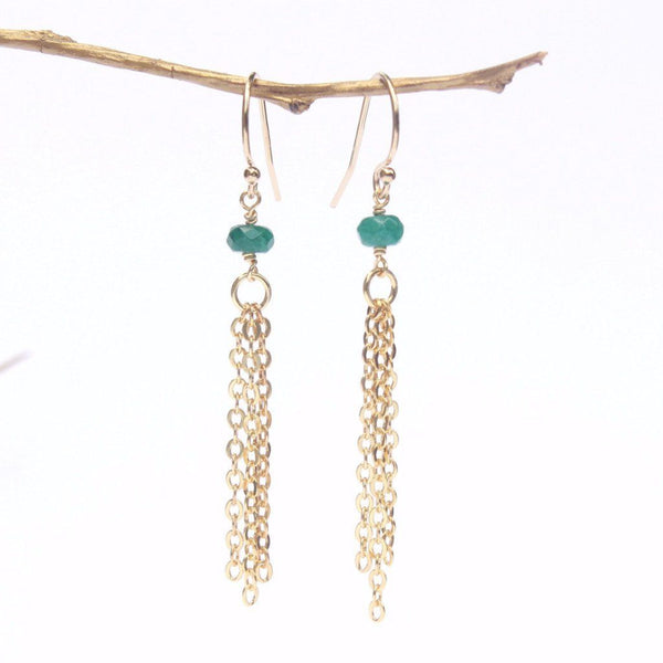Dark Green Jade Tassel Earrings WHOLESALE