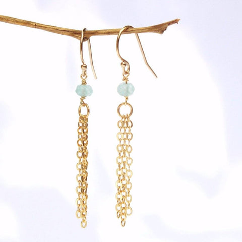 Mint Jade Tassel Earrings WHOLESALE