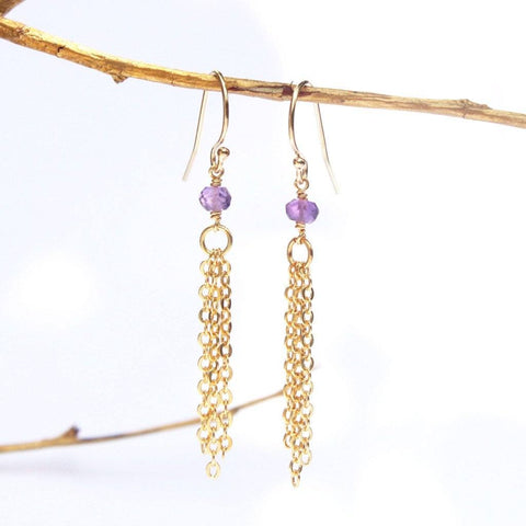 Amethyst Tassel Earrings WHOLESALE