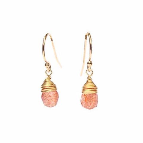 sunstone, sunstone gem, sun stone, orange sunstone, pink sunstone, sunstone crystal, earring design, craft crystals, dropping gems, gem drop, fancy earrings, drop earrings, simple gold earrings, precious gems