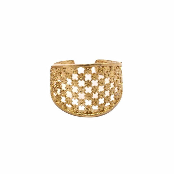 Raw brass mesh ring for sale