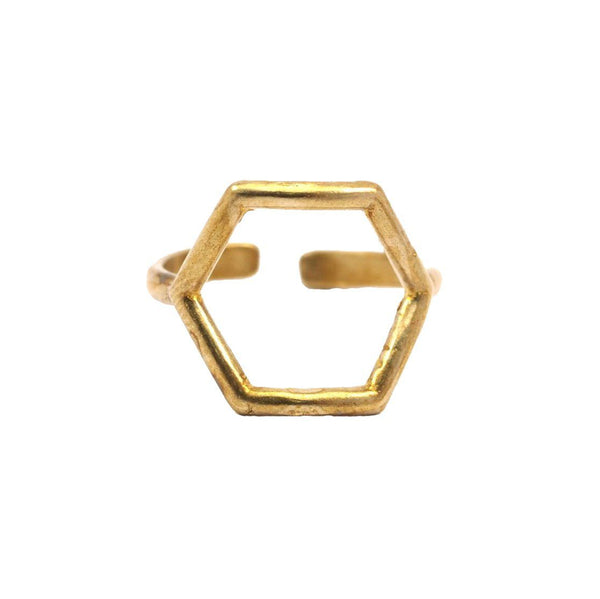 Raw brass Mini Hexagon Ring
