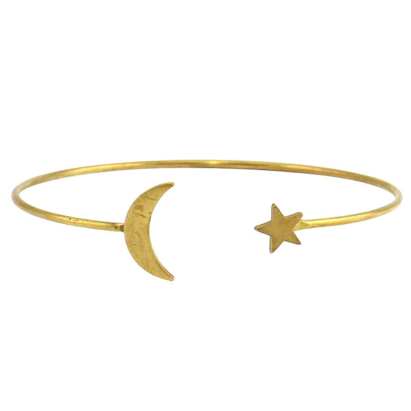 Raw Brass Moon and Star Bangle