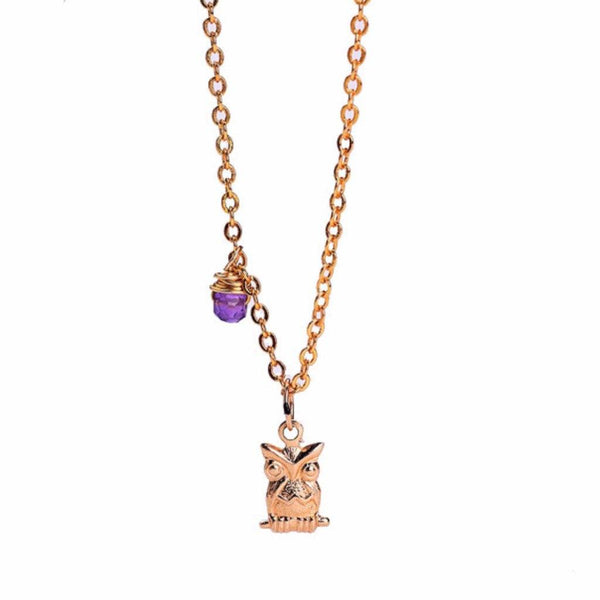 owl necklace, owl pendant, pretty owls, amethyst, purple gem, cute owl, pretty designs, jewellery designs, diy jewelry, gold pendant designs for female, purple jewels